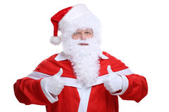 Santa Claus Christmas que muestra los pulgares para arriba aislados imagen de archivo libre de regalías