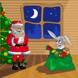 Santa Claus and Christmas rabbit Stock Image