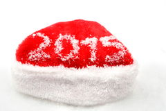 Santa claus christmas red cap 2015 new year on snow Royalty Free Stock Image