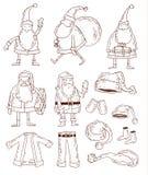 Santa Claus Christmas-reeks Vector illustratie Stock Foto