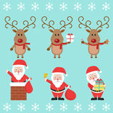 Santa Claus and Christmas reindeer. Funny cartoon character. Vector illustration. Royalty Free Stock Image