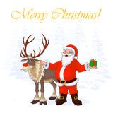 Santa Claus and Christmas reindeer Rudolph on winter trees background. Vector Illustration Stock Images