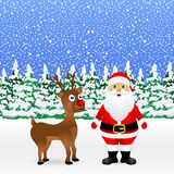 Santa Claus and Christmas reindeer are standing Royalty Free Stock Image
