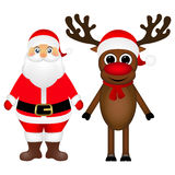 Santa Claus and Christmas reindeer are standing on a white backg Stock Photography