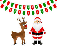 Santa Claus and Christmas reindeer are standing Royalty Free Stock Photo
