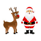 Santa Claus and Christmas reindeer are standing Royalty Free Stock Photography