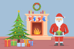 Santa Claus in Christmas room interior with fireplace and tree Royalty Free Stock Photos