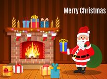 Santa Claus in Christmas room interior. With fireplace and gifts. Holiday decorations. Vector illustration in a flat style Royalty Free Stock Images