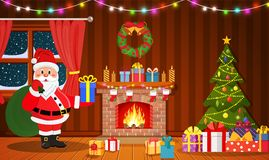 Santa Claus in Christmas room interior. With fireplace, tree and gifts. Holiday decorations. Vector illustration in a flat style Royalty Free Stock Photography