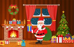 Santa Claus in Christmas room interior. With fireplace, tree and gifts. Holiday decorations. Vector illustration in a flat style Royalty Free Stock Image