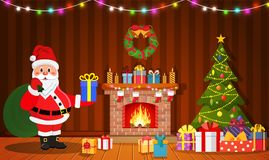 Santa Claus in Christmas room interior. With fireplace, tree and gifts. Holiday decorations. Vector illustration in a flat style Stock Photo