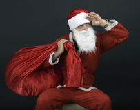 Santa Claus with christmas sack Royalty Free Stock Image