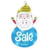 Santa Claus and Christmas sale badge Stock Photo