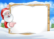 Santa Claus Christmas Scene Sign Background Illustration Stock