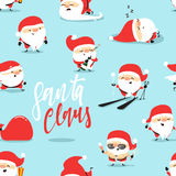 Santa Claus of Christmas seamless pattern, blue background Stock Image