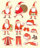 Santa claus Christmas set. vector illustration. Stock Photography