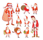 Santa claus Christmas set. vector illustration. Royalty Free Stock Image