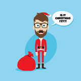 Santa claus christmas skinny dad. Theme  illustration Stock Photography