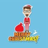Santa claus christmas skinny dad. Theme  illustration Stock Image