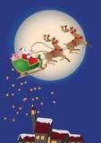 Santa claus christmas. Santa claus and sledge over night landscape Royalty Free Stock Photo