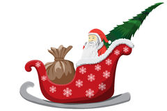 Santa Claus Christmas-slee die op witte Achtergrond wordt geïsoleerd Royalty-vrije Stock Foto