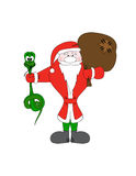 Santa Claus with christmas snake and gift bag. Vector character Royalty Free Stock Photo