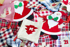 Santa Claus and Christmas Stockings -Christmas decoration Royalty Free Stock Photography
