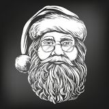 Santa Claus, Christmas symbol hand drawn vector illustration sketch, , drawn in chalk on a black board royalty free illustration