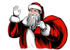 Santa Claus, Christmas symbol hand drawn vector illustration sketch. royalty free illustration
