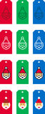 Santa Claus Christmas tags. Set of colorful illustrated Santa Claus Christmas tags on white Royalty Free Stock Photography