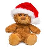 Santa Claus Christmas-teddybeer op witte achtergrond wordt geïsoleerd die Royalty-vrije Stock Afbeeldingen