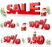 Santa-Claus on Christmas Time. Xmas sale. christmas background with santa and snowman Royalty Free Stock Images