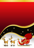 Santa-Claus on Christmas time. Red Template of Santa-Claus on Christmas time in sleigh Stock Images