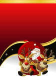 Santa-Claus on Christmas time. Red Template of Santa-Claus on Christmas time in sleigh Stock Photo