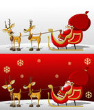 Santa-Claus on Christmas time. In sleigh with reindeers Stock Photo