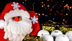 Santa Claus And Christmas Toys bakgrund för blinkande ljus lager videofilmer