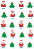 Santa Claus and Christmas tree. Holiday background vector illustration