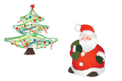 Santa claus and christmas tree. Vector with santa claus and christmas tree on white background royalty free illustration