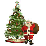 Santa Claus with Christmas tree. 3d rendering of Santa Claus with Christmas tree as an illustration Royalty Free Stock Photo