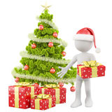 Santa Claus with a Christmas tree Stock Photos