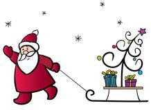 Santa Claus and the Christmas tree. Santa Claus pulling a sledge with the Christmas tree and gifts Stock Photo