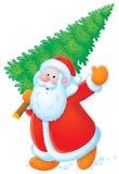 Santa Claus with Christmas tree stock illustration