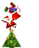 Santa Claus on Christmas Tree. With his bag full of gifts royalty free illustration