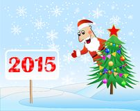 Santa claus, christmas tree and banner with numbers 2015 year. Vector  illustration Stock Photo