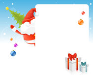 Santa Claus, Christmas tree, blank board for text Royalty Free Stock Image