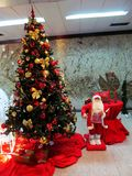 Santa Claus and Christmas tree Stock Photos