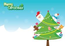 Santa Claus And Christmas Tree Decoration mit Verzierungen Lizenzfreie Stockfotos