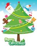 Santa Claus And Christmas Tree Decoration mit Verzierungen Lizenzfreies Stockfoto