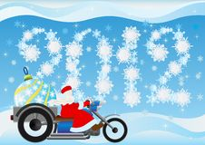 Santa Claus and Christmas tree decorations. Santa on a motorcycle driven by Christmas decorations Stock Images