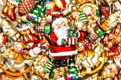 Santa Claus with christmas tree decorations, toys and colorful o Royalty Free Stock Image
